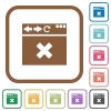 Browser cancel simple icons - Browser cancel simple icons in color rounded square frames on white background