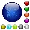 Source code checking color glass buttons - Source code checking icons on round color glass buttons