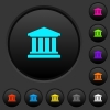 University dark push buttons with vivid color icons on dark grey background