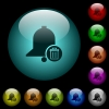 Delete reminder icons in color illuminated glass buttons - Delete reminder icons in color illuminated spherical glass buttons on black background. Can be used to black or dark templates