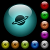 Planet icons in color illuminated glass buttons - Planet icons in color illuminated spherical glass buttons on black background. Can be used to black or dark templates