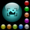 Camera landscape mode icons in color illuminated glass buttons - Camera landscape mode icons in color illuminated spherical glass buttons on black background. Can be used to black or dark templates
