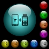 Mobile payment icons in color illuminated glass buttons - Mobile payment icons in color illuminated spherical glass buttons on black background. Can be used to black or dark templates