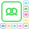 Salted pretzel vivid colored flat icons - Salted pretzel vivid colored flat icons in curved borders on white background