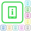 Mobile information vivid colored flat icons - Mobile information vivid colored flat icons in curved borders on white background