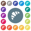 Bakery flat white icons on round color backgrounds. 17 background color variations are included. - Bakery flat white icons on round color backgrounds