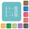 Debugging program rounded square flat icons - Debugging program white flat icons on color rounded square backgrounds