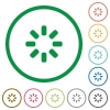 Loader symbol flat color icons in round outlines on white background - Loader symbol flat icons with outlines