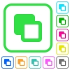 Subtract shapes vivid colored flat icons - Subtract shapes vivid colored flat icons in curved borders on white background
