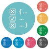 Source code checking flat round icons - Source code checking flat white icons on round color backgrounds