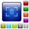 Delete image from camera color square buttons - Delete image from camera icons in rounded square color glossy button set