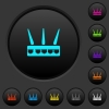 Wireless router dark push buttons with vivid color icons on dark grey background - Wireless router dark push buttons with color icons