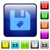 Tag file color square buttons - Tag file icons in rounded square color glossy button set