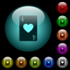 Four of hearts card icons in color illuminated glass buttons - Four of hearts card icons in color illuminated spherical glass buttons on black background. Can be used to black or dark templates