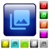Photo library icons in rounded square color glossy button set - Photo library color square buttons