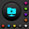 FTP bug dark push buttons with color icons - FTP bug dark push buttons with vivid color icons on dark grey background