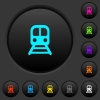 Train dark push buttons with color icons - Train dark push buttons with vivid color icons on dark grey background