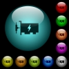 Fast ethernet network controller icons in color illuminated spherical glass buttons on black background. Can be used to black or dark templates - Fast ethernet network controller icons in color illuminated glass buttons