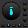 Tie dark push buttons with color icons - Tie dark push buttons with vivid color icons on dark grey background