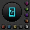 Outgoing mobile call dark push buttons with color icons - Outgoing mobile call dark push buttons with vivid color icons on dark grey background