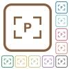 Camera program mode simple icons - Camera program mode simple icons in color rounded square frames on white background