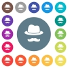 Incognito with mustache flat white icons on round color backgrounds. 17 background color variations are included.
