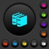 Two books dark push buttons with vivid color icons on dark grey background - Two books dark push buttons with color icons