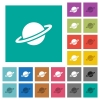 Planet square flat multi colored icons - Planet multi colored flat icons on plain square backgrounds. Included white and darker icon variations for hover or active effects.