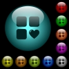 Favorite component icons in color illuminated glass buttons - Favorite component icons in color illuminated spherical glass buttons on black background. Can be used to black or dark templates