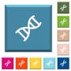 DNA molecule white icons on edged square buttons - DNA molecule white icons on edged square buttons in various trendy colors
