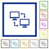 Data syncronization flat framed icons - Data syncronization flat color icons in square frames on white background