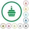 Birthday cupcake flat icons with outlines - Birthday cupcake flat color icons in round outlines on white background