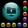 Upload to ftp icons in color illuminated glass buttons - Upload to ftp icons in color illuminated spherical glass buttons on black background. Can be used to black or dark templates
