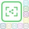 Camera share image vivid colored flat icons - Camera share image vivid colored flat icons in curved borders on white background