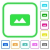 Panorama picture vivid colored flat icons - Panorama picture vivid colored flat icons in curved borders on white background