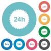24h sticker flat round icons - 24h sticker flat white icons on round color backgrounds