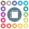 Elemet dimensions flat white icons on round color backgrounds. 17 background color variations are included. - Elemet dimensions flat white icons on round color backgrounds
