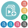 Add new item to playlist flat round icons - Add new item to playlist flat white icons on round color backgrounds