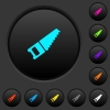Hand saw dark push buttons with color icons - Hand saw dark push buttons with vivid color icons on dark grey background