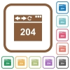 Browser 204 no content simple icons - Browser 204 no content simple icons in color rounded square frames on white background