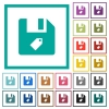 Tag file flat color icons with quadrant frames - Tag file flat color icons with quadrant frames on white background