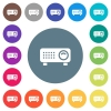 Video projector flat white icons on round color backgrounds - Video projector flat white icons on round color backgrounds. 17 background color variations are included.
