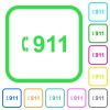 Emergency call 911 vivid colored flat icons - Emergency call 911 vivid colored flat icons in curved borders on white background