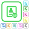 Contact profile picture vivid colored flat icons - Contact profile picture vivid colored flat icons in curved borders on white background