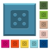 Dice five engraved icons on edged square buttons - Dice five engraved icons on edged square buttons in various trendy colors