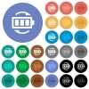 Rechargeable battery round flat multi colored icons - Rechargeable battery multi colored flat icons on round backgrounds. Included white, light and dark icon variations for hover and active status effects, and bonus shades on black backgounds.