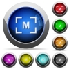 Camera manual settings mode icons in round glossy buttons with steel frames