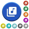 Music library round color beveled buttons with smooth surfaces and flat white icons - Music library beveled buttons