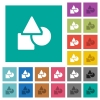 Basic geometric shapes square flat multi colored icons - Basic geometric shapes multi colored flat icons on plain square backgrounds. Included white and darker icon variations for hover or active effects.