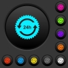 24h sticker with arrows dark push buttons with color icons - 24h sticker with arrows dark push buttons with vivid color icons on dark grey background